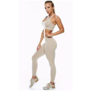 Saski mid rise nude workout leggings sz Med 6-8